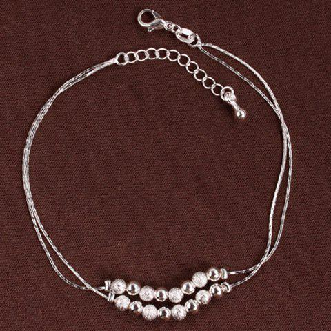 Buy Double Layered Lucky Beaded Brighton Anklet - SILVER  Mobile