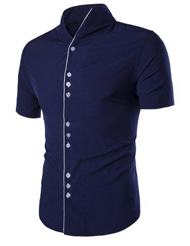 Hot Stand Collar Buttons Embellished Short Sleeve Shirt For Men