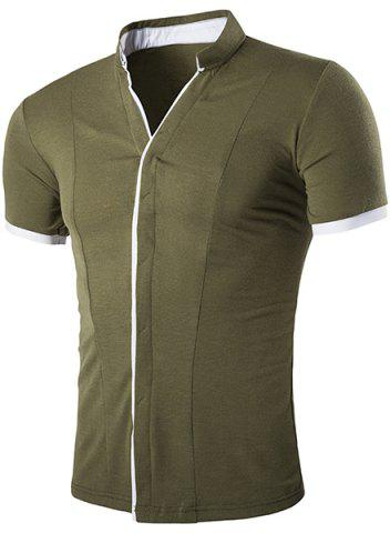 New Stand Collar Color Block Splicing Short Sleeve Shirt For Men ARMY GREEN M