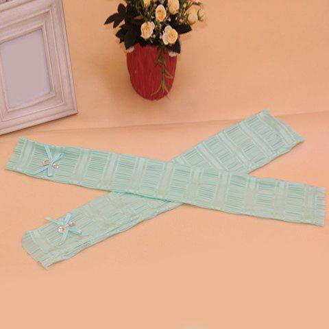 Shop Pair of Chic Rhinestone and Bow Embellished Lace Fingerless Gloves For Women