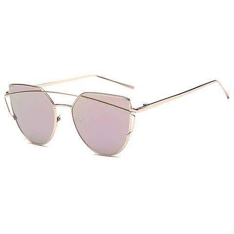Metal Bar Embellished Cat Eye Sunglasses - Pink - M