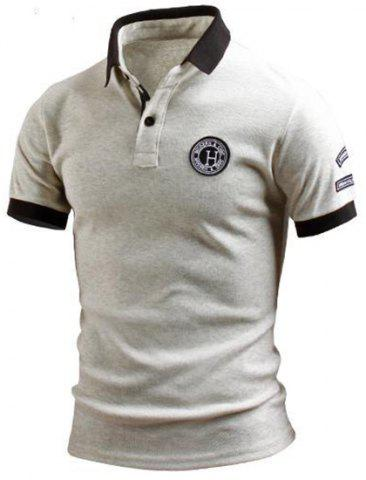 Unique Turn-Down Collar Color Block Splicing Applique Embellished Short Sleeve Men's Polo T-Shirt GRAY M