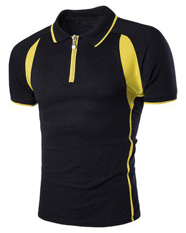 Outfits Turn-Down Collar Color Block Splicing Zipper Short Sleeve T-Shirt For Men - L BLACK Mobile