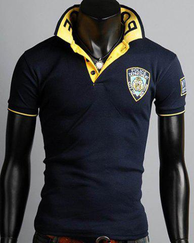 New Turn-Down Collar Rib Splicing Letters Pattern Short Sleeve Men's Polo T-Shirt CADETBLUE XL
