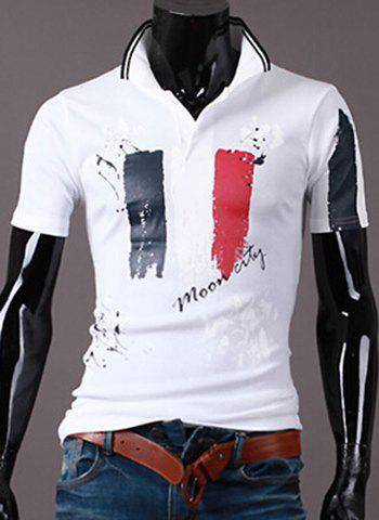 Sale Turn-Down Collar Scrawl Pattern Print Short Sleeve Men's Polo T-Shirt WHITE XL