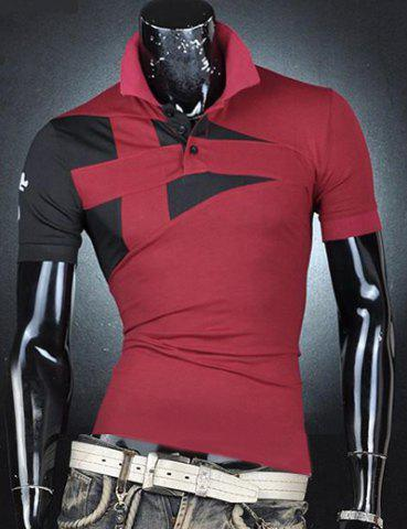 Hot Turn-Down Collar Color Block Rib Splicing Short Sleeve Men's Polo T-Shirt