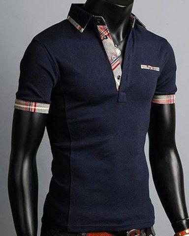 Trendy Turn-Down Collar Color Block Purfled Design Short Sleeve Men's Polo T-Shirt - L CADETBLUE Mobile
