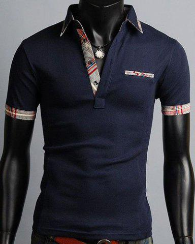 Chic Turn-Down Collar Color Block Purfled Design Short Sleeve Men's Polo T-Shirt - L CADETBLUE Mobile