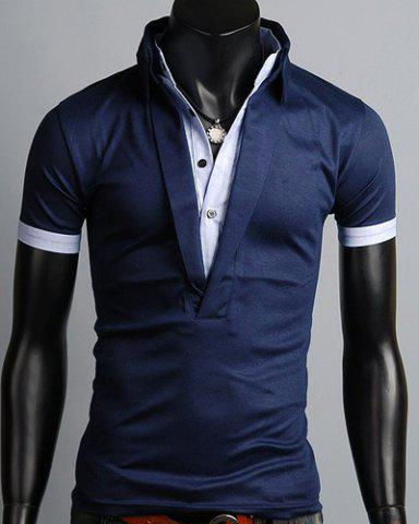 Chic Turn-Down Collar Color Block Splicing Single Breasted Design Short Sleeve Men's Polo T-Shirt CADETBLUE XL