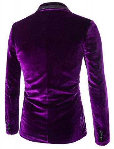 Cheap Fashion Lapel Pocket Edging Design Slimming Long Sleeve Corduroy Blazer For Men - M PURPLE Mobile