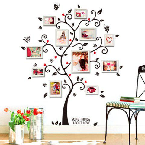 Outfits Photo Frame Tree Shape Removeable Vinyl Wall Stickers - BLACK  Mobile