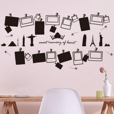 Photo Frame Shape Removeable Vinyl Wall Stickers - Black