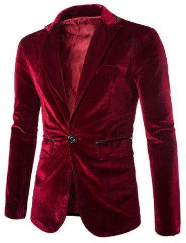 Hot Fashion Lapel Pocket Edging Design Slimming Long Sleeve Corduroy Blazer For Men WINE RED 2XL