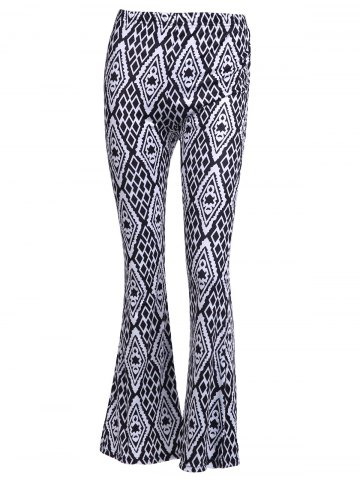 High-Waisted Geometric Patterned Flare Pants - White And Black - M