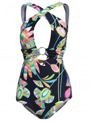Stylish Back Criss-Cross Cut Out Printed One-Piece Swimwear For Women