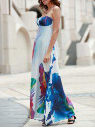 Stylish Elastic Strapless Abstract Printed Maxi Dress For Women -