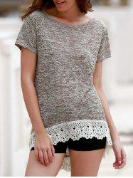 Stylish Round Neck Short Sleeve Hollow Out High Low T-Shirt For Women