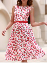 Vintage Jewel Neck Sleeveless Strawberry Print Flare Dress For Women -