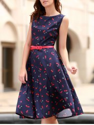 Cherry Print Midi A Line Dress With Belt - PURPLISH BLUE XS