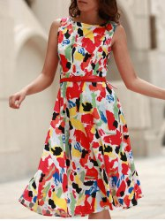 Vintage Jewel Neck Sleeveless Print Flare Dress For Women
