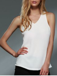 Chic V-Neck Sleeveless Solid Color Asymmetrical Chiffon Women's Tank Top -