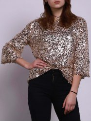 Jewel Neck Sequin Sparkly T-Shirt