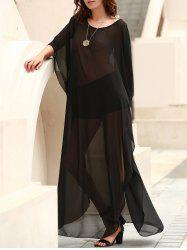 Scoop Neck See-Through Slit Long Swimsuits Cover-Ups