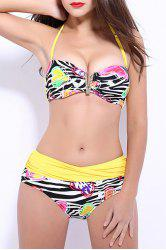 Women's Stylish Push Up Print Color Block Bikini Suit