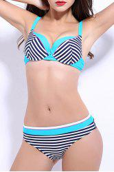 Women's Stylish Push Up Striped Bikini Suit -