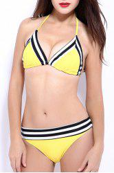 Trendy Halter Striped   Bikini Set For Women -
