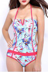 Women's Stylish Halter Hollow Out Flower Print Backless One Piece Swimwear