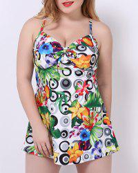 Stylish Spaghetti Strap Printed Plus Size One-Piece Swimsuit For Women