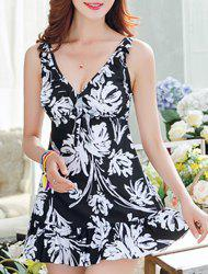 Sweet V-Neck Abstract Printed One-Piece Swimsuit For Women