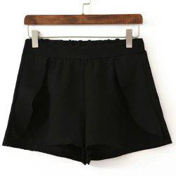 Stylish High Waisted Solid Color Flounce Shorts For Women -