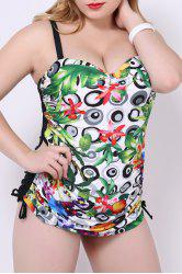 Multicolor Printed Cute Plus Size One-Piece Swimwear