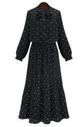 Graceful Bow Tie Collar Long Sleeve Polka Dot Pleated Maxi Dress For Women -