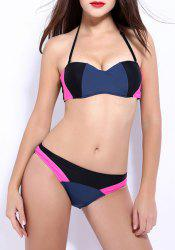 Sexy Halter Push Up Color Block Underwire Bikini Set For Women -
