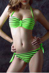 Sexy Halter Neck Side-Tie Backless Rhinestoned Stripe Bikini Set For Women -
