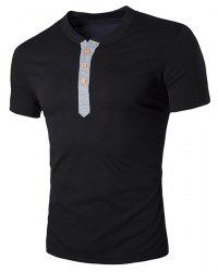V-Neck Buttons Embellished Short Sleeve T-Shirt For Men - BLACK M