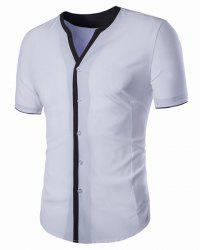 V-Neck Edging Spliced Design Short Sleeve Shirt For Men