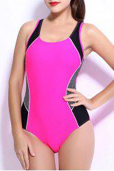 Chic Hit Color Backless One-Piece Racerback Swimwear For Women -