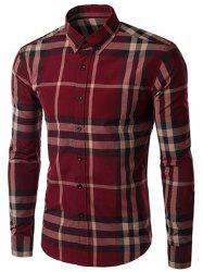 Men's Slimming Long Sleeves Plaid Turn Down Collar Shirt - DARK RED