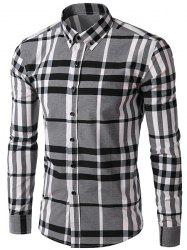 Minceur manches longues Plaid Men Turn Down Collar Shirt -