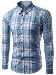 Slimming Checked Long Sleeves Turn Down Collar Shirt For Men