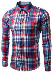 Slimming Checked Long Sleeves Turn Down Collar Shirt For Men - BLUE AND RED