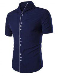 Stand Collar Buttons Embellished Short Sleeve Shirt For Men -