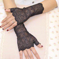 Pair of Chic See-Through Rhombus Lace Fingerless Gloves For Women -