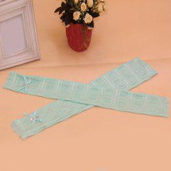 Pair of Chic Rhinestone and Bow Embellished Lace Fingerless Gloves For Women -