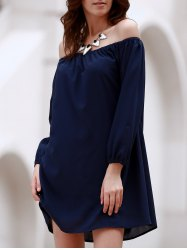 Off The Shoulder Long Sleeve Chiffon Dress