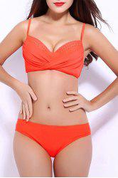 Elegant Spaghetti Strap Solid Color Twist Bikini For Women